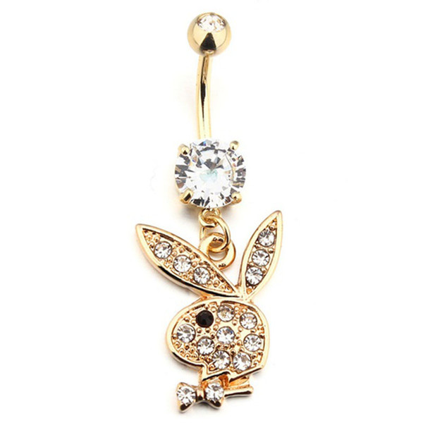 Bunny chapado en oro cuelga ombligo ombligo anillos Joya piercing del cuerpo Joya (1.6 mm) x 3/8 (10 mm) de longitud