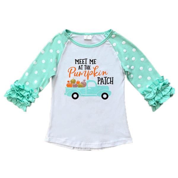 top popular Kids Girls T-shirts Baby Christmas Halloween Thanksgiving Unicorn Turkey Pumpkin Letter Striped Dots Ruffle Sleeve 28 Designer Tops 12M-7T 2020