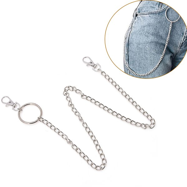1-3Layer Rock Punk Hook Trousers Pant Waist Link Belt Chain Metal Wallet Silver Chain Fashion Men Jewelry