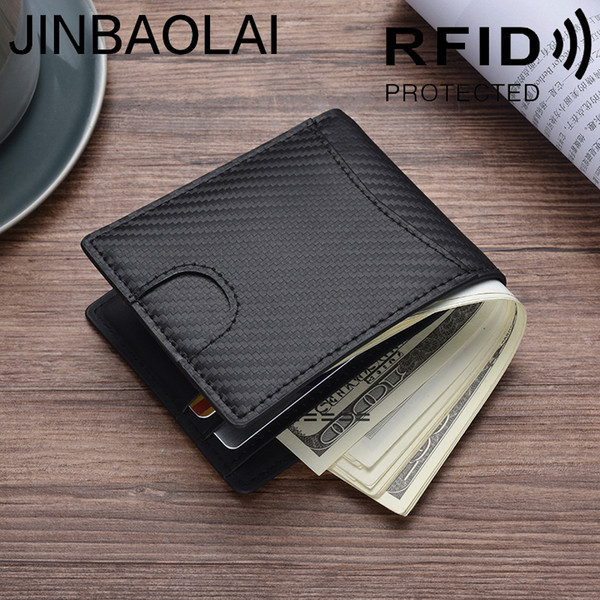 JINBAOLAI new RFID card package Europe and the United States money clip leather carbon fiber wallet men's wallet