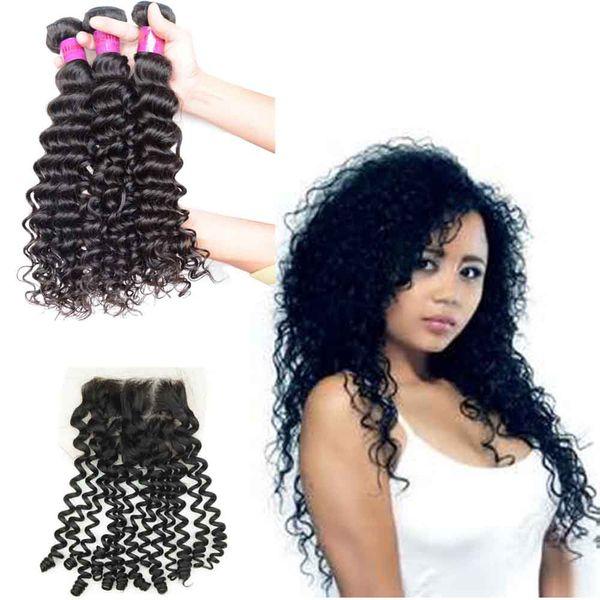 Curly Brazilian Indian Malaysian Peruvian Hair 3 Bundles with Closures Free Part Deep Wave Virgin Mongolian Cambodian Remy Human Hair Weaves