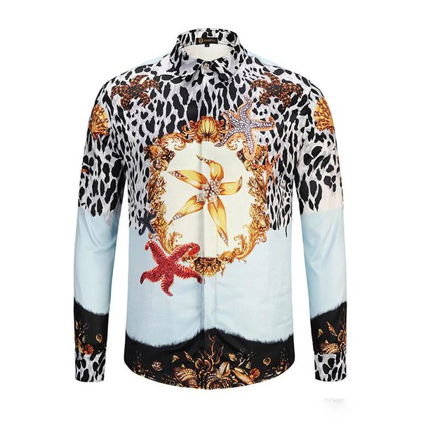 Authentic Of Men Floral Print Colour Mixture Luxury Casual Harajuku Shirts Long sleeves Men's Medusa Shirts M--2XL