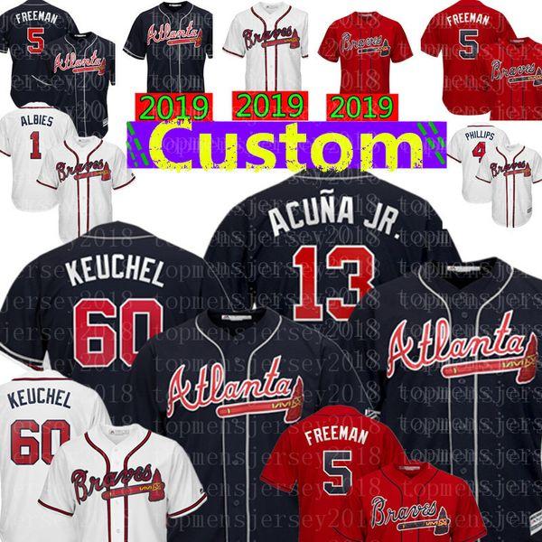 60 Dallas Keuchel Atlanta Custom Braves Jersey 13 Ronald Acuña Jr. 5 Freddie Freeman 10 Chipper Jones 7 Swanson 1 Ozzie Albies Maddux