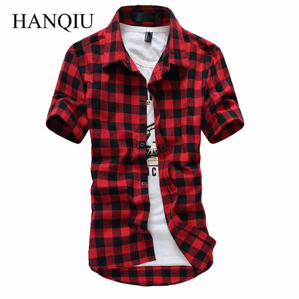 Red And Black Plaid Shirt Men Shirts 2019 Summer Spring Fashion Chemise Homme Mens Dress Shirts Short Sleeve Shirt Men C19041702