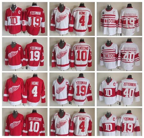 Red Wings de Detroit, Steve Yzerman 19 Jersey Hommes 40 Henrik Zetterberg 10 Alex Delvecchio 4 Gordie Howe Vintage classique 75ème Rouge blanc