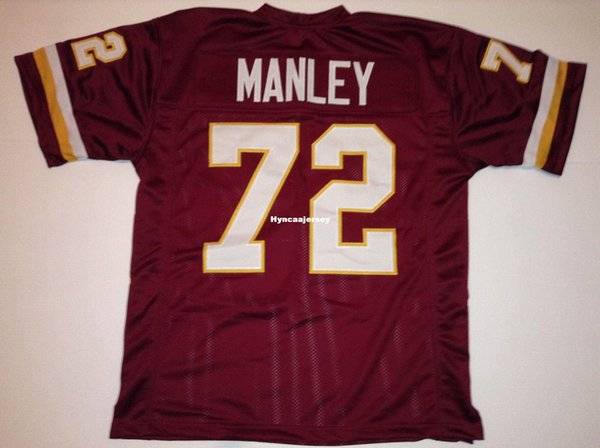 Costume retro Costurado Personalizado Costurado # 72 Dexter Manley Borgonha MITCHELL NESS Jersey Camisas de Futebol dos homens Faculdade NCAA