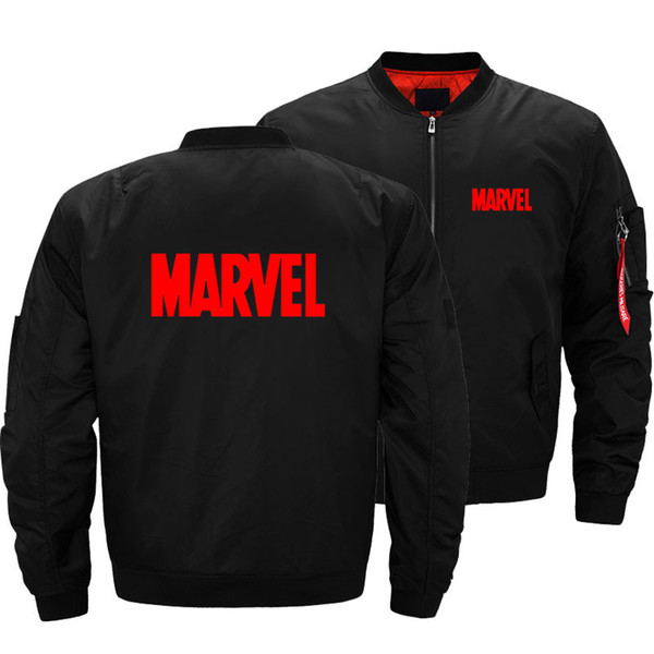 Dropship Bombacı Ceket Marvel Logosu Mektup erkek Moda Kalın Motosiklet Ceketler Erkekler Uçuş Ma-1 Pilot Ceket
