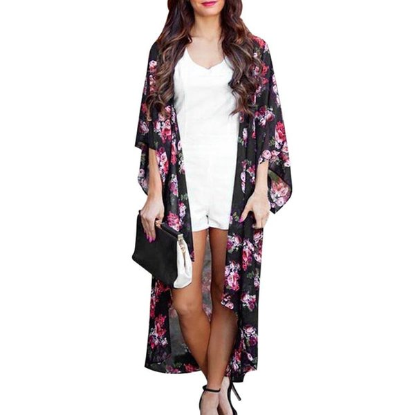 acheter populaire 9fb80 dbbbb 2019 Kimono Women Blouses Summer Floral Open Cape Casual Coat Loose Blouse  Kimono Cardigan Tops Vetement Femme From Bearren, $13.27 | DHgate.Com