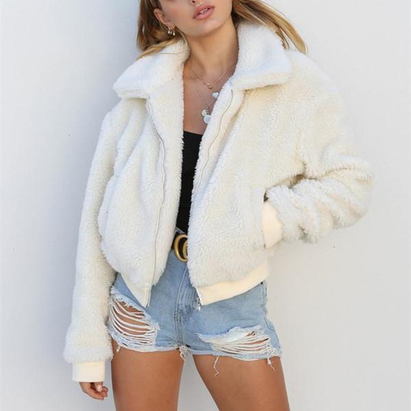 coats woman warm woolen coat women fall winter fashion twill zipper fleece jacket streetwear teddy bear coats outwear c78 ae39