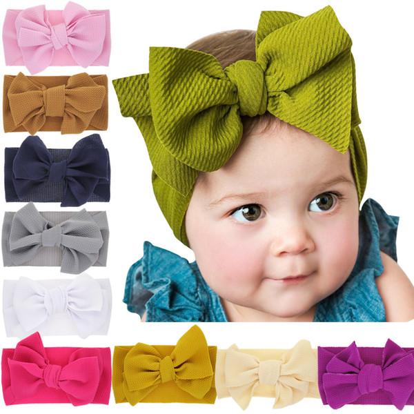 Neonate Tinta unita Fasce Big Bow Fascia per capelli Kids Bambini Headwear Boutique accessori per capelli 10 colori Turbante B11