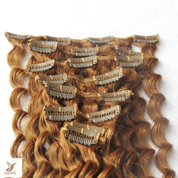 Strawberry Blonde Color 100% Brazilian Human Hair Clip In Deep Wave Hair Extensions 10-30 Inchs Brazilian Virgin Hair Extensions 7 Pieces