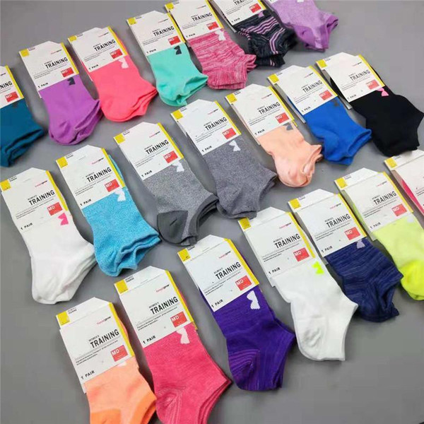 Brand Women Socks Crew Ankle Under Low Cut Short Sports Socks Candy color UA Low Stockings Girls Low-cut Liners Jogging Sock Slippers &tag