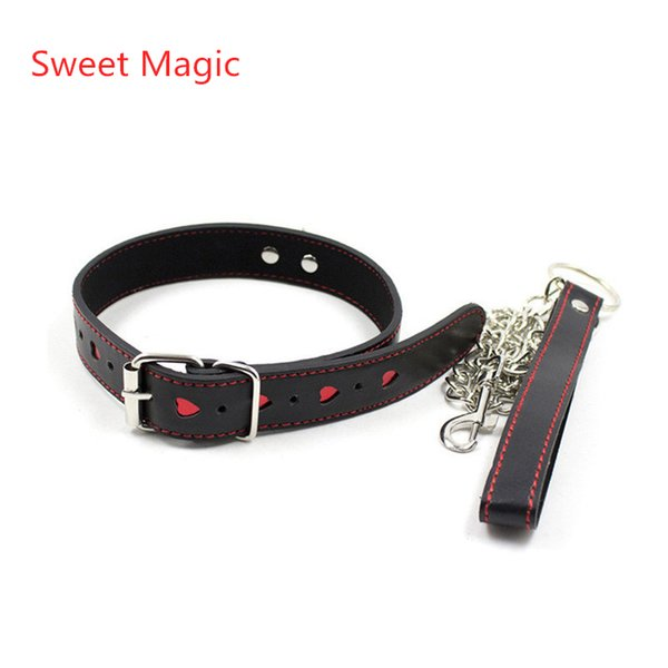 Sweet Magic Red Heart Neck Collar With Chain Sex Slave Role Play Necklace For Couples Fetish Restraint Bondage Sexy Costums Accessory