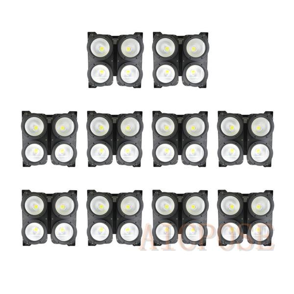 10 pz / lotto 4x100 W Luce del pubblico ad alta potenza 4 occhi COB Cool / Warm LED bianco Wall Wash Light DMX Stage Lighting 400W COB