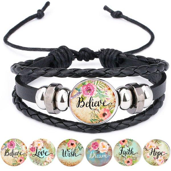 Acheter Bible Verse Bracelet En Cuir Foi Reve Amour Espoir Croire
