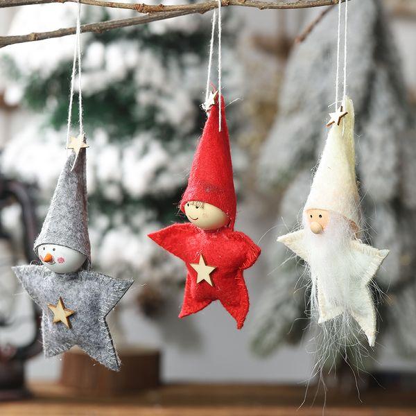 2020 Nouveau Noël Décoration étoile à cinq branches Doll Pendentif créatif Poupée marionnettes Petit Suspendre Sapin Père Noël Pendentif cadeau