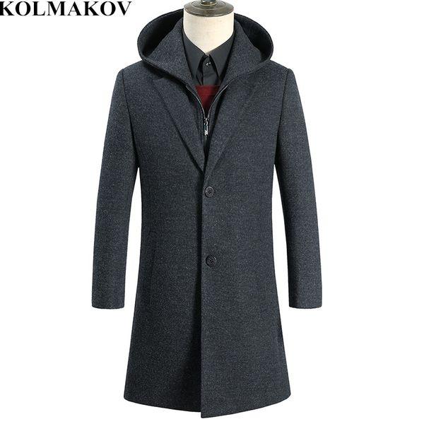 KOLMAKOV Men's Clothing 2019 New Mens Woolen Coats Classic Hooded Windbreakers Man Wool Trench Coat for Men Slim Fit Overcoat