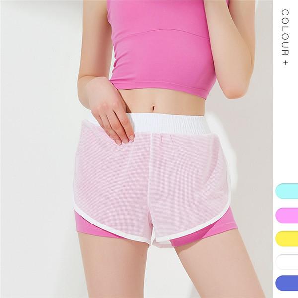 Spor Şort Kadın Spor Giyim Yaz Mesh Egzersiz Lulu Bayanlar Için Koşu Gym Yoga Şort Elastik Kısa Pantolon MMA1847