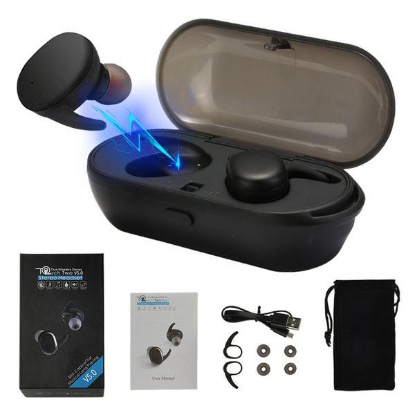 TWS Bluetooth 5.0 Stereo-Kopfhörer Mini Twins Wireless Headset Wasserdichte Sport-Kopfhörer-In-Ear-Ohrhörer mit Ladebuchse für iPhone