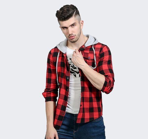 Chemises Hommes manches longues pour hommes robe à capuchon Chemises coton Chemise à carreaux hommes chemise de smoking Plus Size Slim Fit Homme