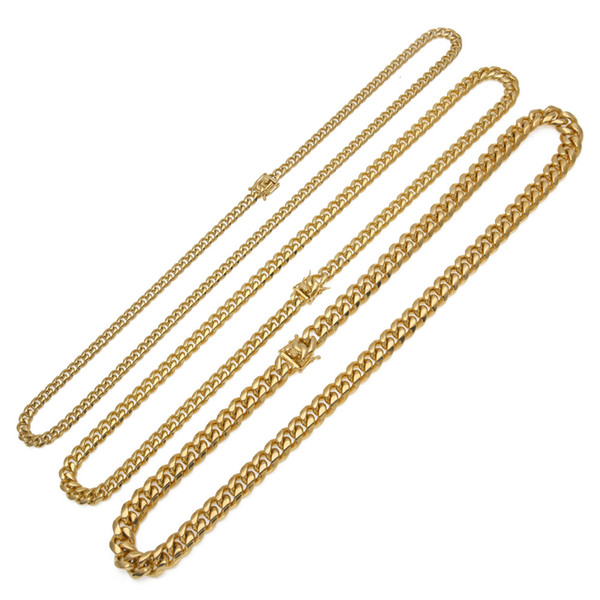Solid Clasp Stainless Steel Cuban Link Chain Top Quality 8/10/14mm 18/20/24/30inches Heavy Long Necklace Hiphop Men Jewelry