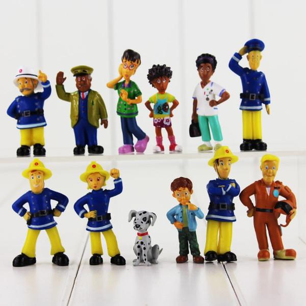 12pcs/lot Cartoon Anime Fireman Sam figure pvc action figure toys set good kids toy Christmas gift 2.5-6cm