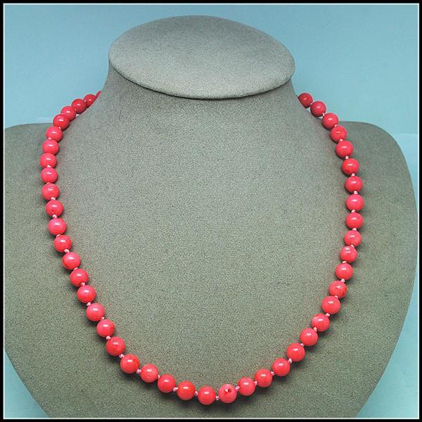 rosafarbene Korallenkette runde Kugelform Größe 45cm Länge Chokerhalskette verknotete Frauenhalsketten Größe 8mm