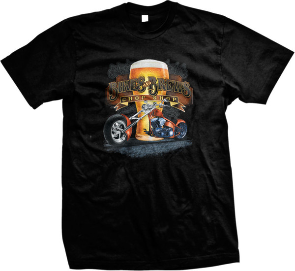 Велосипеды и варит Чоп магазин мотоцикл измельчитель пиво стекло мужская футболка Мужчины Женщины унисекс мода футболка Бесплатная доставка черный