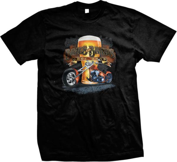 Bikes and Brews Chop Shop Moto Chopper Beer Glass Mens T-Shirt Uomo Donna Unisex Fashion tshirt Spedizione gratuita nero