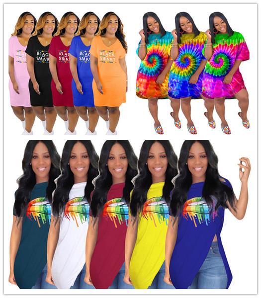 Preto Inteligente Com Decote Em V Mulheres Vestido Tie-dye Saias Irregulares de Verão Grandes Lábios Impressos Designer Hem Irregular camiseta Sexy Boate Roupas C73102