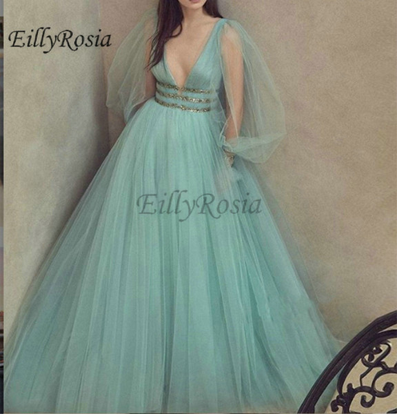 Sexy Mint Green Prom Dresses 2019 New Arrival Deep V-Neck Illusion Long Sleeve Tulle A Line Beaded Belt Rhinestones Party Evening Gowns
