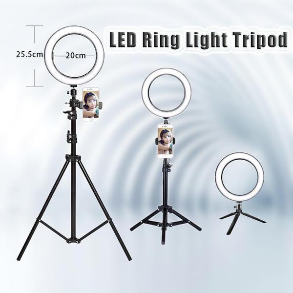 8 '' 25 CM Fotoğraf LED Özçekim Halka Işık üç-hızlı soğuk ve sıcak USB Fiş LampTripod Standı ile kademesiz Aydınlatma Dim