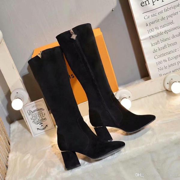 Brand Boots Womens Aus Charm2019 75 Stiefel Schwarz Wildleder Glassshoes113 High Großhandel Designers Pop Decent Long Kniehohe Auf Heels Von 6Y7fgbvy