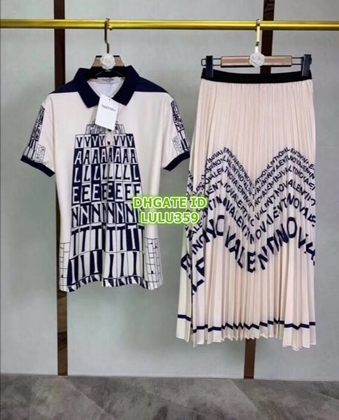 2019 Women's Multicolor Letters Print Two Piece Dress Lapel Neck Polo Tee T-Shirt+Long Skirt Girls Casual Two Colors Sets