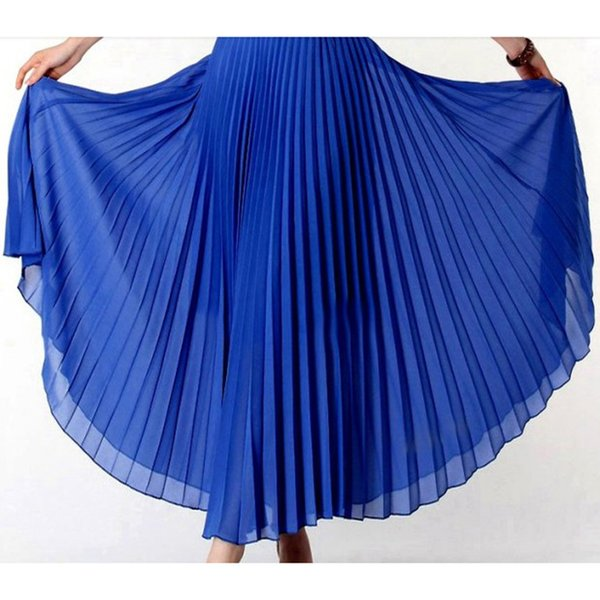 Anasunmoon Spring Bohemian Pleated Maxi Skirts Womens Summer Solid Color High Waist Chiffon Long Skirt Tutu Elegant Ladies Black J190427