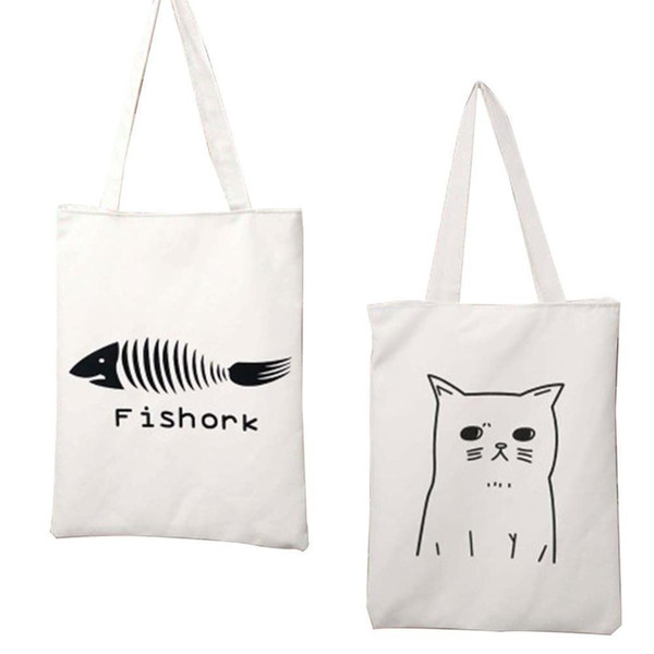 Cartoon Animal Cat Women's Canvas Tote Bag Eco Shopping Bag Daily Use Foldable Handbag Large Capacity Canvas Tote For Female