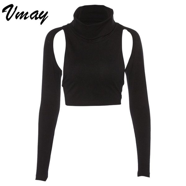 Vmay New Donna 2019 primavera maniche lunghe personalità Hollow Backless T-Shirt collo alto Street Style Solid Backless Top
