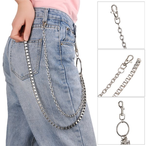 64cm Metal Hollow Cross Rock Punk Fashion Key Chains Clip Hip Hop Jewelry Pants KeyChain Wallet Chain Belt Biker Link