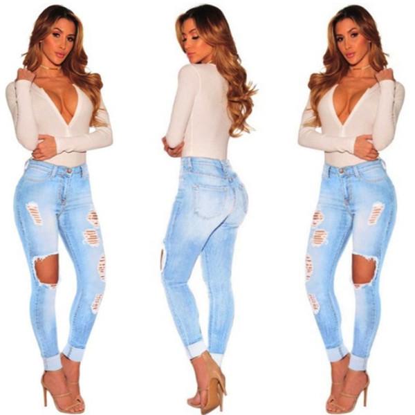 Moda calças lápis mulheres lavadas Jeans Mulheres Estiramento Cintura alta buraco Skinny rasgado mudança gradual Jeans oco out S-3XL