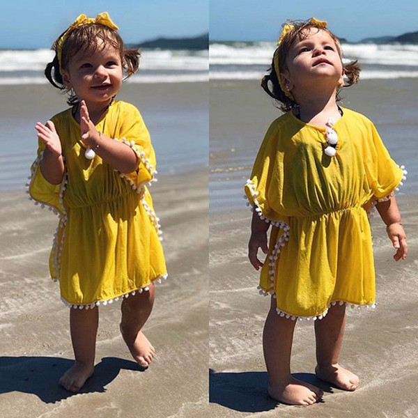 Toddler Kids Baby Girls Bikini Tankini Beachwear Swimsuit Cover Up Clothes Smock Middle Sleeve Knee Length Yellow Lace Dress