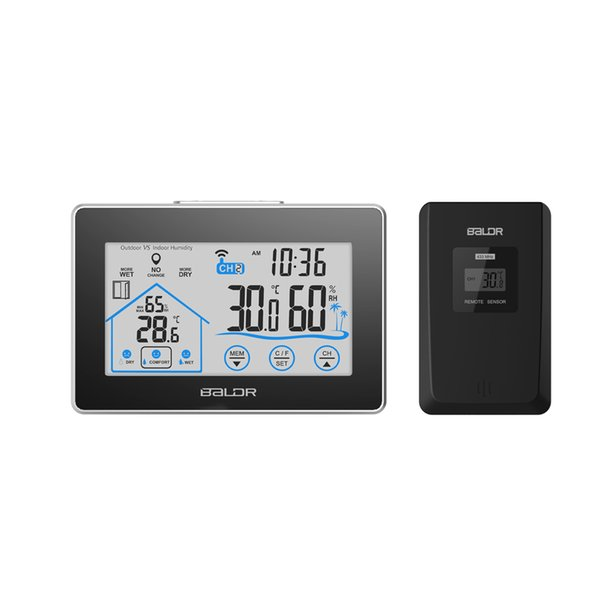 Baldr Home LCD Weather Station Touch Button In/outdoor Temperature Humidity Wireless Sensor Hygrometer Clock Digital Thermometer