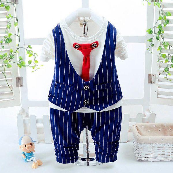 good quality autumn kids boys clothes set casual children's set striped gentleman t-shirt+pants tracksuit formal boys clothing sets