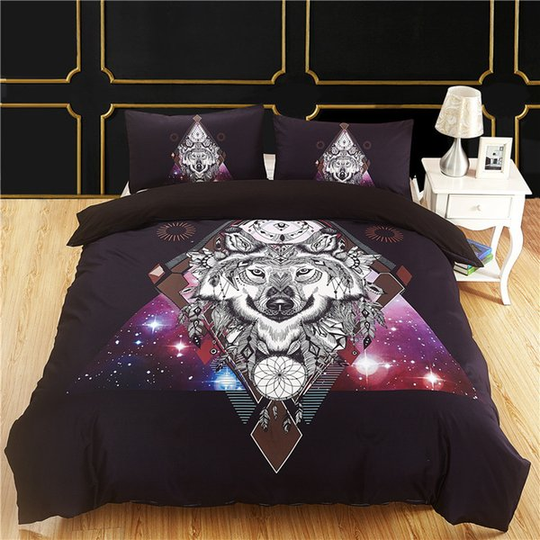 Fanaijia Bohemian lobo Conjunto de Cama queen size capa de edredão com fronha conjunto de cama de tamanho completo