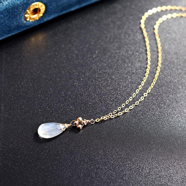 top popular DAIMI Moonstone Necklace Female 14K Gold Injection Sky Clavicle Ran Chain Pendant Couple Gift Genuine 2021
