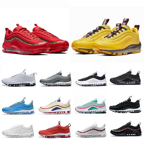 nike Air Max 97 airmax 97 shoe Air Bright Citron Vermelho Leopardo Homens Mulheres Correndo Athletic Shoes Azul Herói BOLD PULL TABS Mostarda Borgonha Esmagar Sports Sneaker