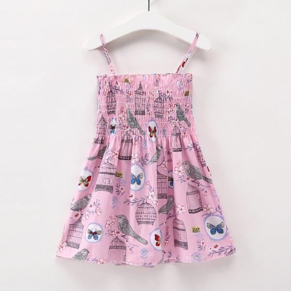 5 Adet / grup Karikatür Güzel Yaz Bebek Kız Elbise Askı Pamuk Çocuklar Elbiseler Sıcak Satış Yeni Kızlar Paskalya Çocuk Giyim