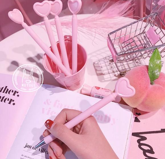 Best selling gel pens Creative Heart-Shaped Signature Pen Girl Pink Love-Heart Sex Pen Student Office Stationery319