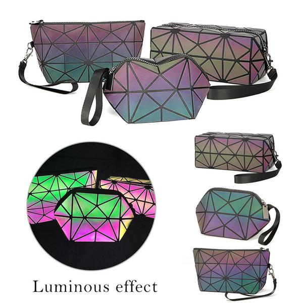 Shujin Mode Femmes Zipper Sac cosmétique de maquillage lumineux Sac Cosmétique géométrique Organisateur pliant Voyage Make Up Sacs