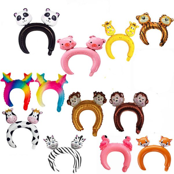 best selling Birthday Party Decorative Balloon Super Cute Animal Two-Headed Stereo Headband Foil Balloon Party Gift Game Prize