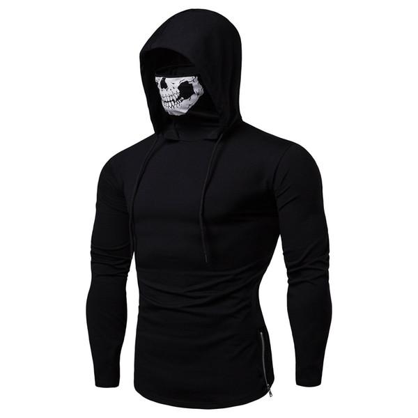 2019 Printemps Hoodies Hommes Mode élégant cool skull imprimé Sweat à capuche Jeu Zipper Sweat à col roulé Designer